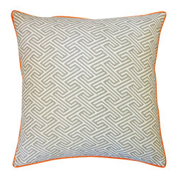 Jiti - Inca Passage Grey Orange Pillow - Jazz up your home decor with our Inca Passage Grey Orange Pillow!  Made from 100% Cotton. Invisible Zipper. DRY CLEAN ONLY. Insert is made of 95% feathers and 5% down.
