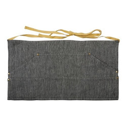 Sir|Madam - Black Herringbone Workers Apron (Set of 2) - With thoughtful details like unlacquered brass rivets and four waist-level compartments to keep all of your necessities close at hand, Sir|Madam's aprons are such a pleasure to wear you just might be tempted to leave the house in them. The Workers Apron is just the right size for a day in the garden or studio. It is made of a linen-cotton blend and given a soft wash for added comfort. Comes in a set of 2 aprons.   About the Artist: With a strong focus on domesticity and entertaining, Sir|Madam evokes classic motifs and historical references in an easy, modern way. Many designs are inspired through travels, coastal themes, or historical influences. The products are designed to be timeless, and to marry well with a range of styles in today's eclectic interiors.    Product Details: