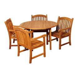 Amazonia Teak - Lucia 5-piece Teak Light Brown Outdoor Dining Set - The Lucia five-piece outdoor dining set offers great functionality and a transitional design that is sure to uplift any space. Enjoy your patio in elegance with this alluring patio set featuring a durable teak construction in a weather resistant finish.