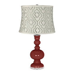 """Color Plus - Contemporary Salute Taj Sea Glass Shade Apothecary Table Lamp - Salute red glass table lamp. White cotton blend fabric shade with embroidered sea glass green Taj pattern. Lucite base. Maximum 150 watt or equivalent bulb (not included). On/off switch. 30"""" high. Shade is 14"""" across the top 16"""" across the bottom 11 1/2"""" high.   Salute red glass table lamp.  White cotton blend fabric shade with embroidered sea glass green Taj pattern.  Lucite base.  Maximum 150 watt or equivalent bulb (not included).  On/off switch.  30"""" high.  Shade is 14"""" across the top 16"""" across the bottom 11 1/2"""" high."""