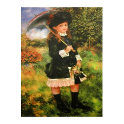 "Oriental Unlimited - Young Girl with Parasol Canvas Wall Art - Beautiful rendering of a 19th century child in bourgeois finery. Lithographic printed reproduction on canvas stretched over wood. Distinctive wall decor can ""make"" a room. 23.5 in. W x 1 in. D x 31.5 in. H Renoir loved to paint girls, 19th century Paris clothing and fashion, landscapes and sunshine. He liked to paint people and their accessories, and as this young lady posed with her small umbrella and bouquet, her face reflects the flattery and boredom someone of her age would likely feel, under the circumstances."
