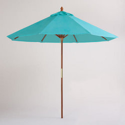 9-Foot Blue Turquoise Umbrella - Outdoor entertaining wouldn't be complete without a bit of shade. Make some with these summer umbrellas. The turquoise is my favorite color!