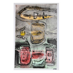 Lost Art Salon - Jerry Opper Original Abstract in Gray, 1940-50s - This late 1940s-Early 1950s stone lithograph on paper abstract is by California artist Jerry Opper (b.1924). After graduating from Hollywood High School, he worked in movie studios and attended art classes at Choiunard Art Institute. In 1942 he was drafted into the army and was then able to study at the Colorado Springs Fine Arts Center while his outfit was stationed in Colorado. After he was discharged in 1945 he returned to Chouinard and his work in movie studios until 1947, when he moved to San Francisco. Mr. Opper then enrolled at the California School of Fine Arts. Opper's prints have been included in several major shows throughout the country: Oakland Art Gallery; Sacramento State Fair; San Francisco Museum of Art; International Color Lithography Exhibition at Cincinnati, Ohio; Pennell Print Show at the Library of Congress, Washington D.C.; Brooklyn Museum Print Show; Los Angeles County Fair, Pomona; City of Paris Rotunda Gallery, San Francisco. Unframed, shipped in standard sized archival mat.