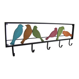 Zeckos - Colorful Birds On A Wire Metal 5 Hook Wall Mounted Coat Rack - This cool distressed finish 5 hook wall mounted coat or mug rack wall hanging features a half dozen colorful birds perched upon a wire. The wall rack has a distresses, shabby chic finish to give it an aged look uses black and brown enamels over the original blue and red enamels to give the anchor an aged look. The rack measures 32 inches long, 11 inches tall, and 2 1/4 inches deep. Each of the metal hooks can support up to 10 pounds of weight. It has mount on all four corners of the frame. Use to top to if you aren't hanging anything heavy on it, or use all four mounts for heavier coats, mugs, etc.
