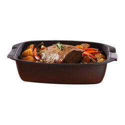 """Swiss Diamond - Nonstick Roaster with Lid - 5.3 qt (8.3 x 13"""") - Slow roast a pork loin, braise a pot roast, bake a deep casserole, or slow cook chili  the Swiss Diamond nonstick roaster is a versatile piece of bakeware that cleans up in a snap. With a 5 liter (5.3-quart) capacity and a cooking depth of 11 cm (4 inch), this roaster can comfortably handle a 6-8 lb. roast. Sear your roast on the stovetop to lock in flavor and then transfer directly to the oven  everything is oven-safe to 500F (260C). When you are done roasting, take the pan back to the stovetop to make your gravy. The patented Swiss Diamond nonstick coating browns food for a savory exterior, creating the rich pan drippings needed for flavorful sauces. Thick, cast aluminum construction prevents burning on the bottom and transfers heat evenly around the entire piece of meat. To braise, use the included heat-tempered glass lid with adjustable steam vent for advanced moisture control."""