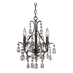"Minka Lavery - Crystal Castlewood Walnut Silver Finish 3-Light Mini Chandelier - In a Castlewood Walnut and silver finish with crystal glass drops this three-light mini chandelier design is a perfect way to welcome guests in foyers or entryways. Castlewood Walnut and silver finish. Crystal glass drops. Takes three 60 watt candelabra bulbs (not included). 13.75"" wide. 18.5"" high. Includes 6 feet of chain and 10 feet of wire. 5"" round canopy. Hang weight is 10 pounds.  Castlewood Walnut and silver finish.   Crystal glass drops.   Takes three 60 watt candelabra bulbs (not included).   Includes 6 feet of chain and 10 feet of wire.   18 1/2"" high.  13 3/4"" wide.   5"" round canopy.   Hang weight is 10 pounds."