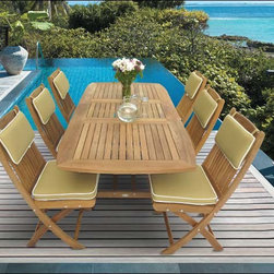 "Fifthroom - 60"" Teak Rectangular Expansion Table and Sailor Chair Set -"