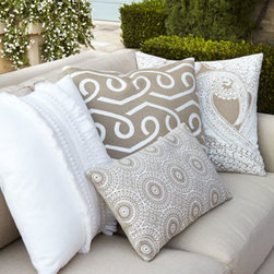 """ELAINE SMITH - ELAINE SMITH Ivory Fringe Pillow, 20""""Sq. - Collection of beige and white pillows is made of durable outdoor-safe fabric. Made of acrylic Sunbrella® outdoor-safe fabric resistant to water, fading, staining, and mildew. Spot clean. Lace circles pillow, 12"""" x 20"""". Ivory loops pillow, 20""""Sq. Ivory fringe pillow, 20""""Sq. Ivory paisley p"""