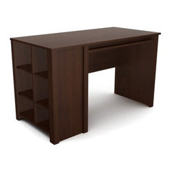 Ameriwood Cube Desk - Resort Cherry - Now that is one cool cube - the Ameriwood Cube Desk - Resort Cherry has a compact design you (and your work area) will love. It's crafted of engineered wood and particle board in a Resort Cherry finish that's neither too light nor too dark. Six open cubbies along the side provide ample storage for ample office and study supplies, and a pencil rail below the work surface completes the design. Assembly required.About Ameriwood ProductsAmeriwood Industries is one of the leading manufacturers of wood products such as unassembled furniture, stereo speaker cases, and stereo component racks in the United States. For more than 30 years, Ameriwood has helped furnish homes across North America with ready-to-assemble furniture. Crafted from engineered wood, Ameriwood products are dense and durable, for years of use.