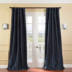 EFF - Solid Faux Silk Taffeta Navy Blue Curtain Panel - Add to the elegance of your traditional living room, dining room, or bedroom with these long faux-silk curtain panels. The rod pocket construction of these pretty panels ensures that youll be able to use them with your favorite designer curtain rod.