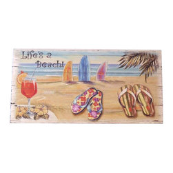 "Handcrafted Model Ships - Wooden Sandal Life's a Beach Sign 16"" Beach Themed Living Room Ideas - New - Immerse yourself in the warm ambiance of the beach, imagining golden sands between your toes as you listen to the gentle sound of the surf, while you enjoy Handcrafted Nautical Decor's fabulous Beach Signs. Perfect for welcoming friends and family, or to advertise a festive party at your beach house, bar, or restaurant, this Wooden Sandal Life's a Beach Sign 16"" will brighten your life. Place this beach sign up wherever you may choose, and enjoy its wonderful style and the delightful beach atmosphere it brings."