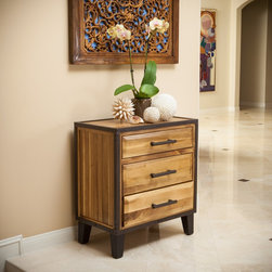 Christopher Knight Home - Christopher Knight Home Luna Acacia Wood Three Drawer Cabinet - Made from acacia wood,this stand can double as both a storage and design element. With neutral colors and an industrial touch this cabinet will compliment any bedroom decor it is placed next to.