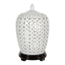 "Oriental Furniture - 12"" Carved Lattice Decorative Vase Jar - Exotic open lattice dolomite lidded jar with a beautiful high gloss clear glaze finish. An eye catching Asian style home decor accessory; perfect for both formal and casual contemporary office and home interior."