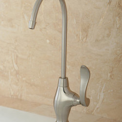 None - Designer Solid Brass Satin Nickel Single-Handle Water Filter Faucet - Make your kitchen more stylish with this tall water filter faucet. This single-handle faucet is made of solid brass for durability and has a satin-nickel finish that enhances its beauty. It has a modern look that will enhance your kitchens decor.