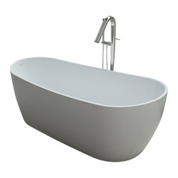 ADM - ADM Free Standing Stone Resin Bathtub, Glossy - White Free Standing Solid Surface Stone Resin Bathtub