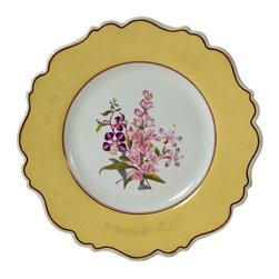 None visible - Consigned 4 Plates with Painted Orchids and Country Flowers - Attractive set of 4 medium plates with a scalloped border painted with orchids and English country flowers; antique English William IV, circa 1825.