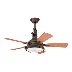 "Kichler - Contemporary 44"" Kichler Hatteras Bay Tannery Bronze Finish Ceiling Fan - This contemporary ceiling fan is part of Kichler's Hatteras Bay Collection. This sleek architectural design comes in a lustrous powder coat Tannery Bronze finish. Five reversible ABS blades are pitched 14 degrees and feature walnut and cherry finishes. The integrated Fresnel lens glass light kit offers a welcoming glow. From Kichler. Tannery Bronze finish motor. Reversible cherry/walnut finish ABS blades. Integrated Fresnel lens glass light kit. Takes four 40 watt krypton bulbs (included). CoolTouch remote control included. 153 X 17 mm motor. Lifetime motor warranty. UL listed for damp locations. 44"" blade span. 14 degree blade pitch. Fan height 18 1/2"" blade to ceiling (with 12"" downrod). Fan height 22 1/2"" ceiling to light kit (with 12"" downrod). Includes one 12"" downrod. (IMAP)  Tannery Bronze finish motor.  Reversible cherry/walnut finish ABS blades.  Integrated Fresnel lens glass light kit.  Design by Kichler lighting.  Takes four 40 watt krypton bulbs (included).   CoolTouch remote control included.  153 X 17 mm motor.   Lifetime motor warranty.   UL listed for damp locations.  44"" blade span.  14 degree blade pitch.  Fan height 18 1/2"" blade to ceiling (with 12"" downrod).   Fan height 22 1/2"" ceiling to light kit (with 12"" downrod).   Includes one 12"" downrod."