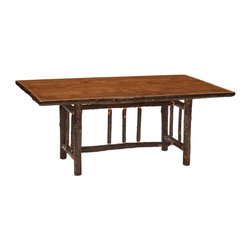 Fireside Lodge Furniture - Hickory Rectangular Log Dining Table in Espre - Finish: 96 in. L - StandardHickory Collection. All Hickory Logs are bark on and kiln dried to a specific moisture content. Clear coat catalyzed lacquer finish for extra durability. 2-Year limited warranty. 60 in. L x 42 in. W x 30 in. H (145 lbs.). 72 in. L x 42 in. W x 30 in. H (165 lbs.). 84 in. L x 42 in. W x 30 in. H (195 lbs.). 96 in. L x 42 in. W x 30 in. H (220 lbs.). Assembly Instructions