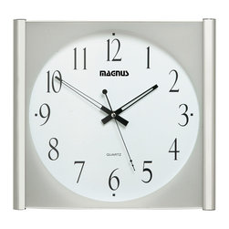 "Dainolite - 14"" Square Clock Polished Chrome Sweep Style Second Hand - -Main Body Material: Plastic"
