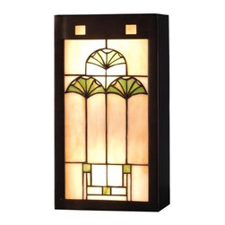 """Meyda Tiffany - Meyda Tiffany 71008 Stained Glass / Tiffany Wall Washers Wall Sconce Gi - 7.5"""" W Ginkgo Wall SconceArts And Crafts Inspired Cottage Green Ginkgo Leaves Adorn A Cornerstone Beige Glass Panel Set In A Mahogany Bronze Hand Finished FrameExtends: 4""""2 60w max medium base bulbs (Not Included)"""