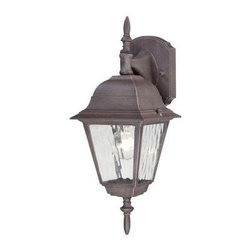 Westinghouse - Westinghouse Outdoor Lanterns. 1-Light Textured Rust Patina on Cast Aluminum Ext - Shop for Lighting & Fans at The Home Depot. This Westinghouse lantern features a textured rust patina finish on cast aluminum for an antique appeal. The clear water glass panels impart an aged quality that adds to the lantern's antique character. This lantern also features a smooth tapered arm, back plate, and prominent finial accent at the top and bottom. Install this lantern in your front or back entryway, or by your garage door, deck area, patio, balcony, or side entrance. Wherever you mount it, you will enjoy the lantern's inviting light and traditional look. The lantern is 15-3/4 in. x 6 in. (H x W), it extends 6-3/4 in. from the wall, and it measures 4 in. high from the center of the outlet box. The back plate measures 5-7/8 in. x 4-1/2 in. (H x W). This Westinghouse lantern is UL listed for safety. It is backed by a 5-year warranty against defects in materials and workmanship.