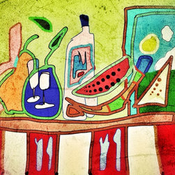 """PROVENCE LUNCH - Giclée on card stock or wc paper.  Can be provided on canvas at 18x24""""."""