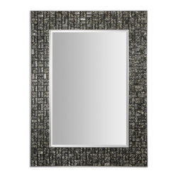 "Uttermost - Uttermost 14538 Allaro Mosaic Black Glass Tiles Mirror - 49"" Length - Mosaic Black Glass Tiles w/ Hints of Warm Ivory"