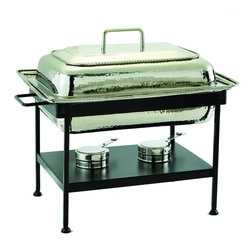 Old Dutch International - Rectangular Polished Nickel over S/S Chafing Dish, 8 Qt. - Guests don't always arrive on time. Keep your culinary creations warm, moist and delicious with this stylish chafing dish. The elegant polished nickel pan comes with an iron stand and two adjustable fuel holders. Your food will be ready no matter what time the party starts.