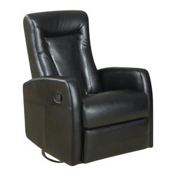 Monarch Specialties - Monarch Specialties Swivel Rocker Recliner Chair in Black - This contemporary design accent chair combines 3 functional elements... it swivels... it rocks... and it reclines, ensuring that you are always in a comfortable position. This dark brown bonded leather chair with a padded head rest was designed for ultimate comfort. Whether reading a book or watching sports this will be the chair that everyone will want to sit on. The easy glide motion and the contemporary design makes it a chic and fashionable addition for your den, bedroom, living room or basement. It truly is a chair for any room in your home. What's included: Recliner (1).