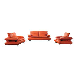 ESF - ESF 410 Orange Top Grain Italian Leather 3 Piece Sofa Set - The ESF 410 sofa set is a great addition for any living room that needs a touch of modern design. This sofa set comes upholstered in a beautiful orange top grain Italian leather. High density foam is placed within the cushions for added comfort. Each piece features a unique armrests design that is decorated with a ball support. Only solid wood products were used when crafting the frame making the sofa set a very durable set.