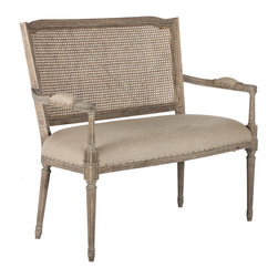 Kathy Kuo Home - French Country Ethan Caned Back Dining Arm Settee - Stately and discerning, the new Ethan arm bench is as noble as a senior statesman. Plot your political aspirations or enjoy a conversation with an old friend. The Ethan arm bench is