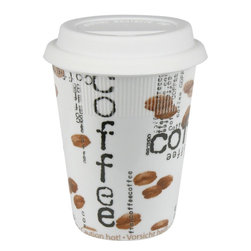 Konitz - Set of 2 Travel Mugs Coffee Collage - Give your morning joe an extra jolt with the Coffee Collage collection. The cool, contemporary style of Coffee Collage Travel Mugs consists of white porcelain sprinkled inside-and-out with photo-realistic coffee beans and black 'Coffee' lettering. Whether you're enjoying your java at home or on the go, you'll love the sleek style of these trendy mugs.