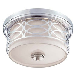 Nuvo Lighting - Nuvo Lighting 60/4627 Harlow Two Light Flush Dome Ceiling Fixture - Nuvo Lighting 60/4627 Harlow Two Light Flush Dome Ceiling Fixture with Slate Gray Fabric Shade, in Polished Nickel FinishThe Harlow collection is offered in gleaming Polished Nickel with Slate Gray fabric shades or richly toned Hazel Bronze with Khaki Linen shades. In either finish, Harlow is the perfect balance of style and glamour.Nuvo Lighting 60/4627 Features: