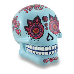 Zeckos - Flowery Powder Blue Sugar Skull Coin Bank Piggy Bank - This beautiful, glossy powder blue Day of The Dead style sugar skull coin bank features a wonderful, brightly colored flowery pink and purple motif with a glossy polyurethane coating to keep it looking great It measures 4.25 inches (11 cm) high, 3.5 inches (9 cm) wide, and 4.5 inches (11 cm) deep with a coin slot in the back, and it easily empties via the twist off plug on the bottom. It's a decorative addition in any room, and a fun accent for a child's room that helps to encourage a healthy saving habit It makes a great gift for a skull or bank collector sure to be loved