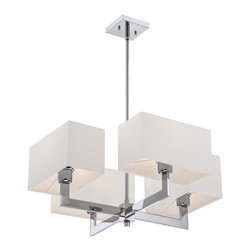 Quoizel - Quoizel REM5004C Remi 4 Light Chandeliers in Polished Chrome - The Remi Collection gives a nod to mod with its gleaming Chrome finish and angular arms. The square shades echo the geometric shape, which is artistically carried through on the square canopy.