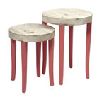 "IMAX - Gill Nesting Tables - Set of 2 - This set of two fir wood nesting tables puts the fun in funky with it's bold coral color and natural wood tops. Item Dimensions: (20.5-24.25""h x 15.75-18.25""w x 15.75-18.25"")"