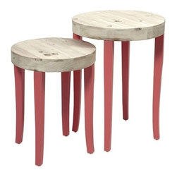 """IMAX - Gill Nesting Tables - Set of 2 - This set of two fir wood nesting tables puts the fun in funky with it's bold coral color and natural wood tops. Item Dimensions: (20.5-24.25""""h x 15.75-18.25""""w x 15.75-18.25"""")"""