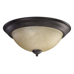 """Quorum International - Quorum International 3073-15 3 Light Down Lighting Flush Mount Ceiling Fixture - Traditional / Classic 3 Light Down Lighting Flush Mount Ceiling FixtureAdd some light and simple style to your rooms with this two light flushmount ceiling fixture from Quorum International. This 15"""" round fixture features a classic round trim ring paired with a stylish Amber Scavo glass diffuser to offer soft light to your home. Three 60 watt bulbs offer 180 watts of total output to make the perfect addition to a hallway, bedroom, or other room in your home.Features:"""