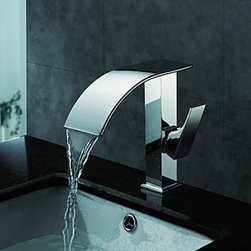 Waterfall Faucets - Contemporary Waterfall Bathroom Sink Faucet(Chrome Finish)
