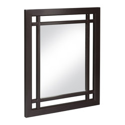None - Stripe Mirror - This attractive stripe mirror features a rich, dark espresso frame that looks great with any decor. Accented with grid-work design, this mirror is delightfully modern and well built.