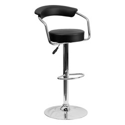 """Flash Furniture - Black Vinyl Adjustable Height Bar Stool with Arms and Chrome Base - This dual purpose stool easily adjusts from counter to bar height. This retro style stool with arms will look great around the bar or kitchen. The easy to clean vinyl upholstery is an added bonus when stool is used regularly. The height adjustable swivel seat adjusts from counter to bar height with the handle located below the seat. The chrome footrest supports your feet while also providing a contemporary chic design. Retro Counter Height or Bar Stool; Black Vinyl Upholstery; Chrome Arms; Swivel Seat; Height Adjustable Seat with Gas Lift; Foot Rest; Chrome Base; Base Diameter: 17.625""""; CA117 Fire Retardant Foam; Designed for Residential Use; Overall dimensions: 19.5""""W x 19.5""""D x 34"""" - 42.25""""H"""