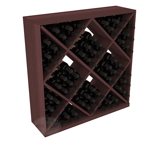 Wine Racks America - Solid Diamond Storage Cube in Redwood, Walnut - Elegant diamond bin style bottle openings make for simple loading of your favorite wines. This solid wooden wine cube is a perfect alternative to column-style racking kits. Double your storage capacity with back-to-back units without requiring more access area. We build this rack to our industry leading standards and your satisfaction is guaranteed.