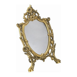 AA Importing - Morning Glory Mirror in Brass Finish - Frame with mirror. Removable mirror held in place with clips. Pictured in Brass. 9 in. Dia. x 13 in. H