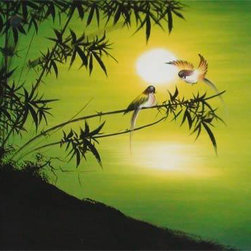Oriental-Décor - Spring Promise - This lovely decorative painting captures the enlightening mood of rejoice and rejuvenation during the early morning hours. Two love birds come to perch on a branch as the morning sun rises in the east. The silhouette of a tree on a hill-top can be seen against a greenish-yellow sky, making for a striking visual effect. Hang this exquisite painting on any wall in your home for a gorgeous display and a feeling of hope and renewal.