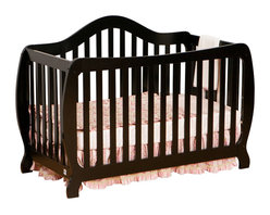 Stork Craft - Stork Craft Monza 2-in 1 Fixed Side Convertible Crib in Black - Stork Craft - Cribs - 0458731B - A throwback to the retro modern design era of the mid-twentieth century the Monza I Fixed Side Convertible Crib by Stork Craft Furniture is sure to be a welcome addition to your nursery.This crib features a unique retro curve on the back and a dipped curve along the front allowing effortless access to your baby. The clean detailing and bowed posts create a truly striking piece. All four sides are stationary and include an adjustable three position mattress support base to add to the security and stability of this epoch crib. This crib will grow with your child as it converts from a standard crib to a full-size bed (full size bed rails not included).  This piece is made of solid wood and wood products offered in a selection of non toxic durable finishes. Set-up this modern work of art with ease by following the simple easy to follow assembly instructions provided by Stork Craft. Complete your nursery look by adding a Stork Craft changing table chest dresser or glider and ottoman.