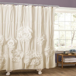 Lush Decor - Lush Decor Serena Ruffle Trim Shower Curtain - Soft brushed poly with ruching create a perfect backdrop for the grand crafted flower details that give this shower curtain the perfect look. The curtain gives the bathroom that special look you were hoping for.
