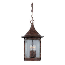 "Designers Fountain - Designers Fountain Canyon Lake Outdoor Chain Hung Lighting Fixture in Chestnut - Shown in picture: 11"" Cast Hanging Lantern in Chestnut finish"
