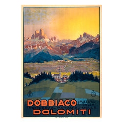 Dobbiaco Dolomiti Print - This travel poster shows a view from a hillside in Dobbiaco, Italy. The Dolomite Alps are seen in the distance. It was originally a color lithograph from the 1920s.