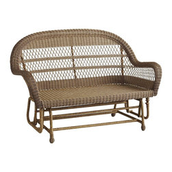 Santa Barbara Glider Settee, Light Brown - A double rocker is the perfect place to linger over a book on a long afternoon.