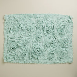 Harbor Blue Rosette Bath Mat - I love this Rosette bath mat from World Market. It adds a romantic feel to any space and is made from 100 percent cotton, so it's soft to the touch.